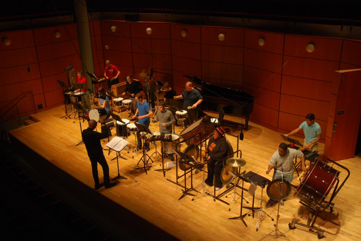 The UGA Percussion Ensemble performs in Ramsey Concert Hall